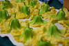 Squash blossoms, gently washed and set to dry.