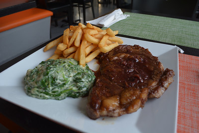 Grilled Skirt Steak with Fries and Spinach