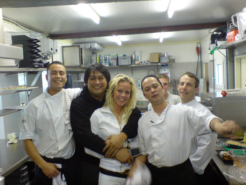"Ron, Geoffrey, ""the hot blond waitress"", Leon, Gino and I"