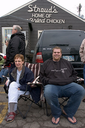 These Stroud's fans brought chairs to make the wait in cold weather easier.