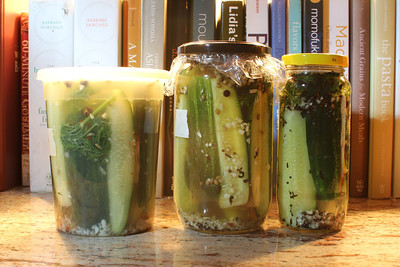 Three pickle recipes. Two brined. One with kimchi juice. None ready for tasting yet.