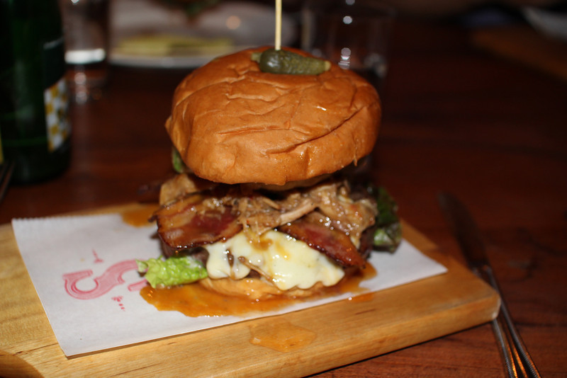 "Insanity burger @ Senate: ground beef, bacon, pork belly, cheese, and a battered, deep-fried avocado.<br /> <br /> <a href=""http://senatepub.com"">http://senatepub.com</a>"