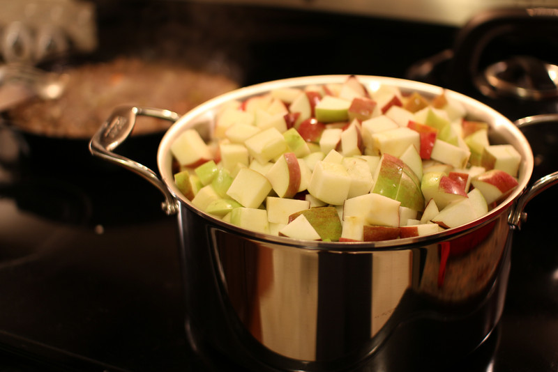 Cooking down a few apples for apple butter