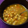 "<h1>Fragrant, Spicy Chickpea Soup</h1> A perfect soup for a cold winter's night.  A most unusually flavored soup from Susan Voisin (FatFreeVegan blog), it is flavored with cumin, cinnamon, allspice, saffron, ginger, chili powder, and paprika.   How's that for a warming combination!!  A much better picture, and recipe <b><a href=""http://blog.fatfreevegan.com/2007/03/chickpea-soup-with-moghrabieh-lebanese.html"">here, on Susan's blog</a></b>."
