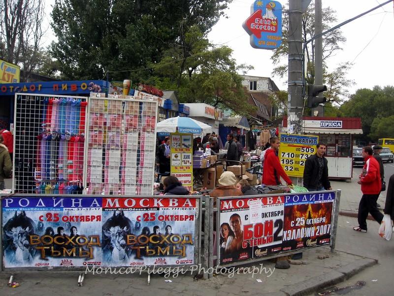 Just outside the market in Odessa, Ukraine