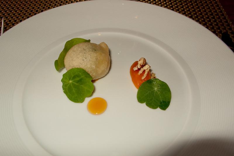 Beignet of Blu Del Moncenisio: Dried Apricot Puree, Bitter Greens
