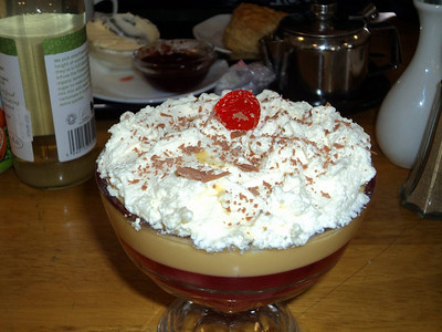 Trifle. Served in Buckfastleigh Station Cafe  30/03/13