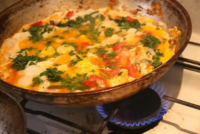 eggs with cilantro, tomatoes, garlic & onions