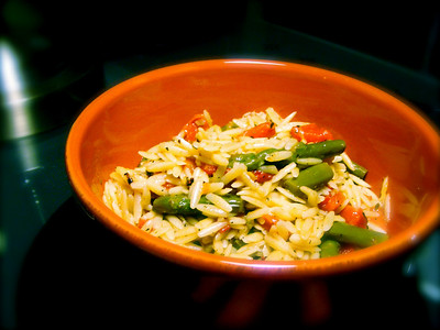 Orzo with Roaasted Red Peppers & Asparagus