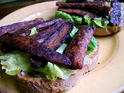 """BLT minus the """"T"""" Tempeh Bacon, Lettuce and Veganaise Sandwich"""