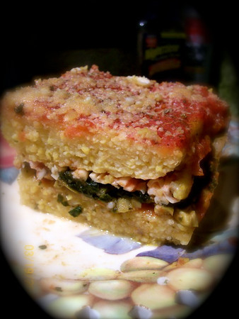 Polenta Lasagna layered with Mushrooms, Spinach and Olive Tapenade