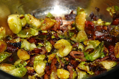 Brussel Sprouts fried with Bacon, homemade  25/12/12