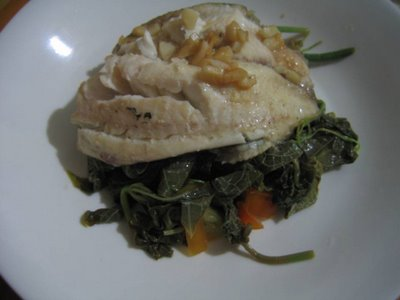 Steamed Tilapia Fillet on Sayote Tops Ensalada