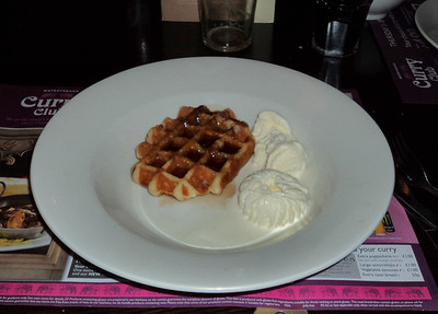"Belgian Waffles with ice cream covered in maple-flavour syrup. Served in ""Weatherspoons"" 10/03/11"