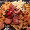 Sausage over Pasta with an Infused Oil Sauce