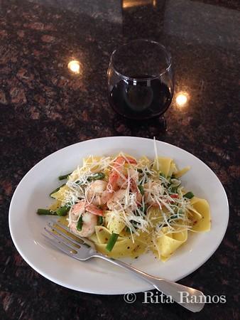 Shrimp & Asparagus with Pappardelle