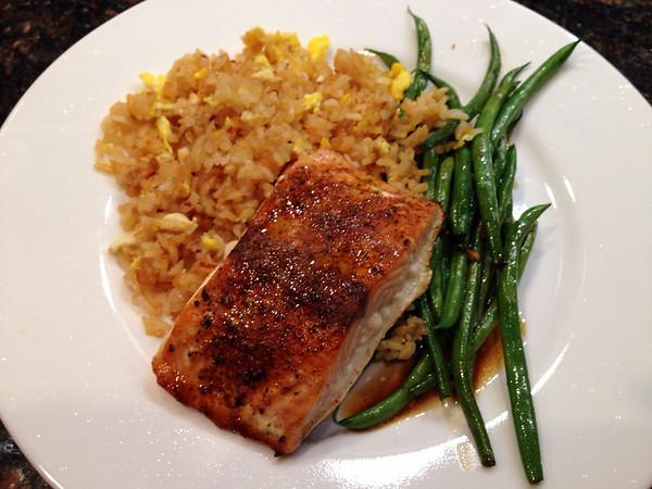 Salmon with Garlic Fried Rice