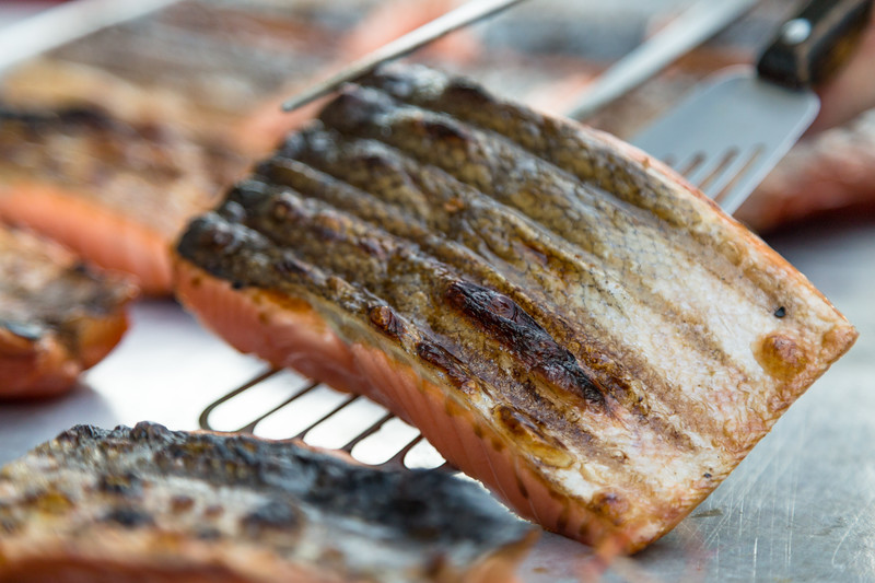 Salmon cooking on the grill