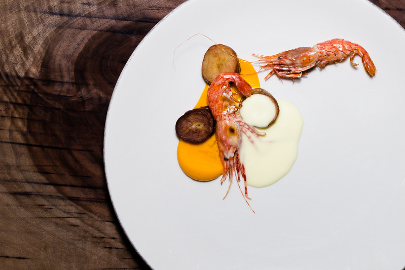 Prawns, Carrot, Fingerling Potatoes, Tumeric Burre Blanc