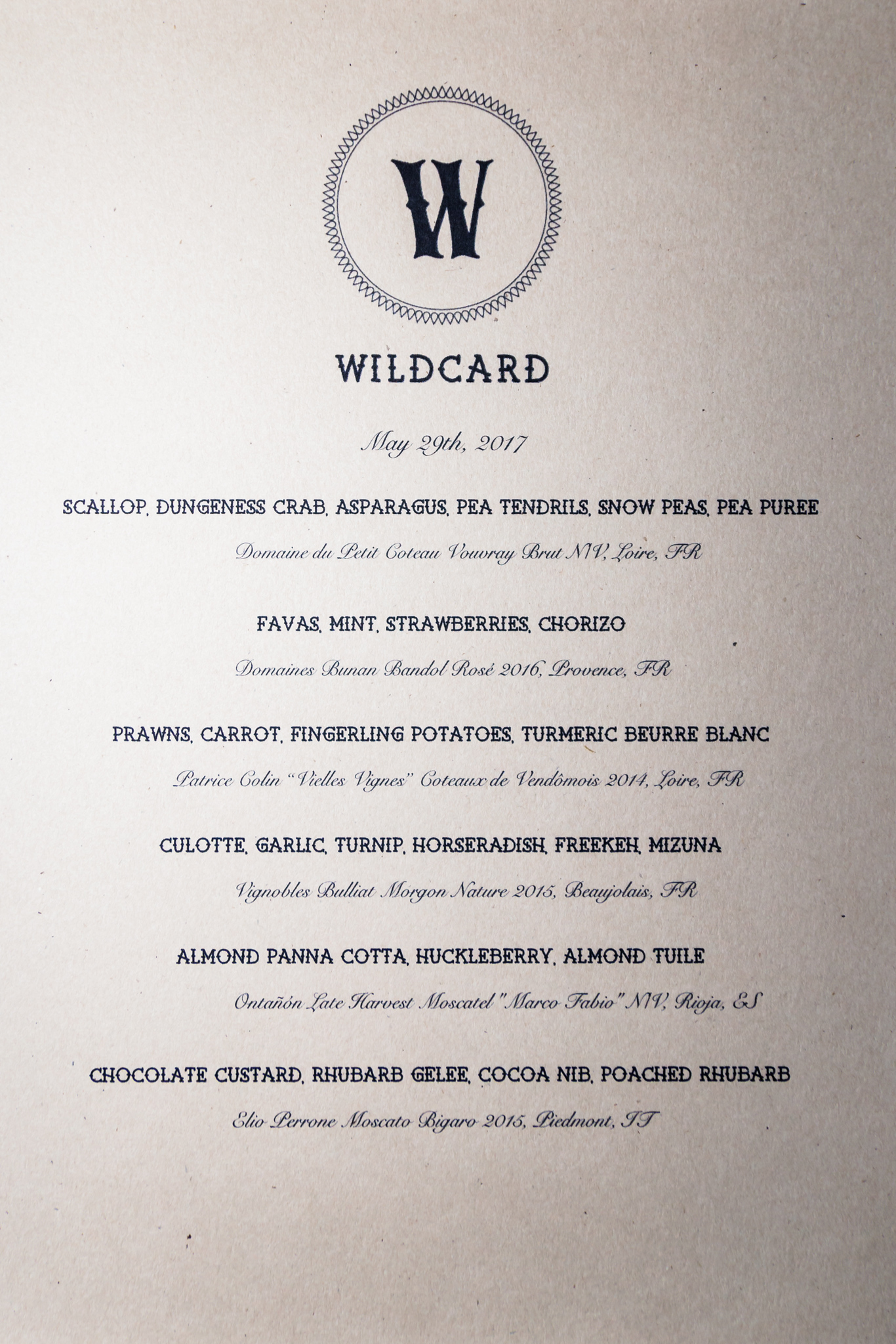 Wildcard PDX Menu 5-29-17