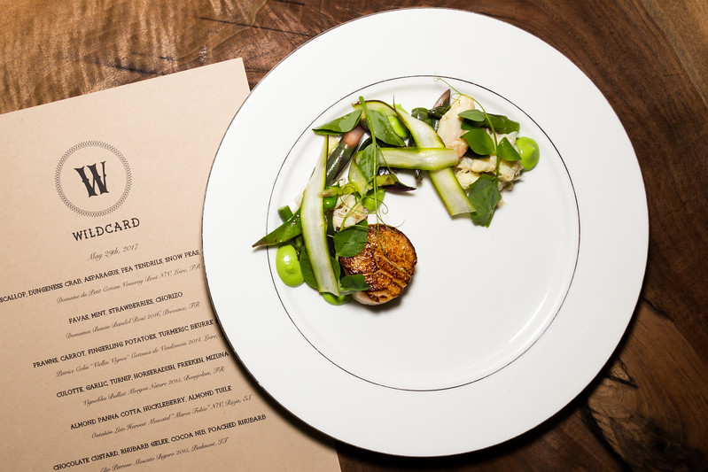 Scallop, Dungeness Crab, Asparagus, Pea Tendrils, Snow Peas, Pea Puree