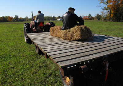 Bill Wood being taken for a haycart ride by Chef Andy Havey, of Bold restaurant in Texas Corners, while visiting Dan Hiday's farm in Burlington, Mich., in October, 2011. (Bradley S. Pines)
