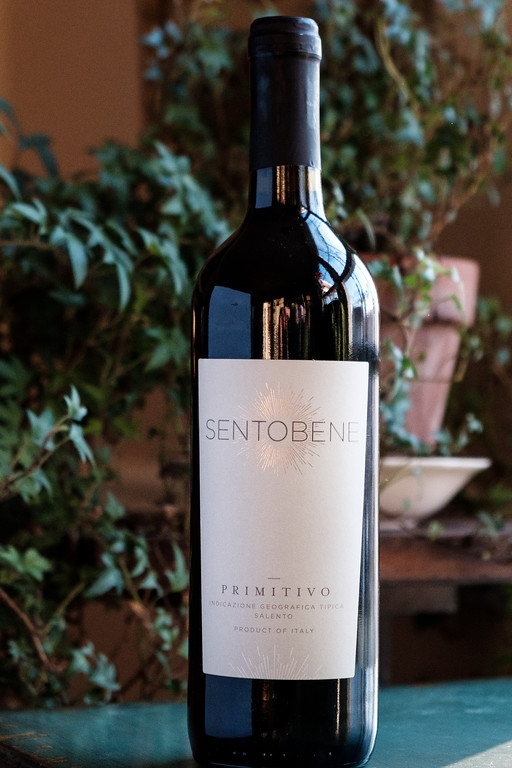 A bottle of 2016 Sentobene - a 100% Primotivo Wine from Puglia Italy