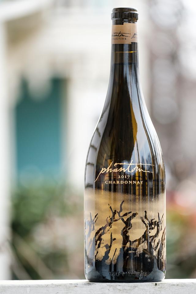 Bottle of Bogle Phantom Chardonnay taken outside.