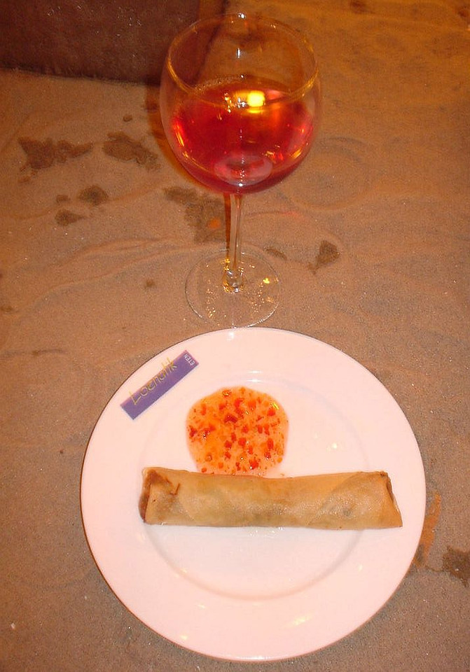 A fresh egg roll  with rosé, lovely combination