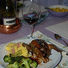 Dinner, Lake County, May 27, 2012: Squab, polenta, broccoli, mango relish, Greg Graham pinot noir. Photo by NCL.