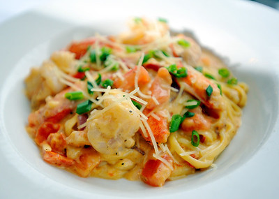 Seafood pasta is one of the specialties at city Grille on Hwy. 51 in Madison.