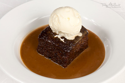 Chef's Presentation dish - Sticky toffee pudding; toffee sauce; vanilla ice cream