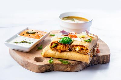 Dosas with sambar and chutney