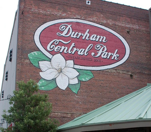Durham Central Park sign in Durham, North Carolina