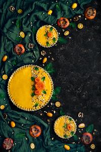 Persimmon kumquat tart