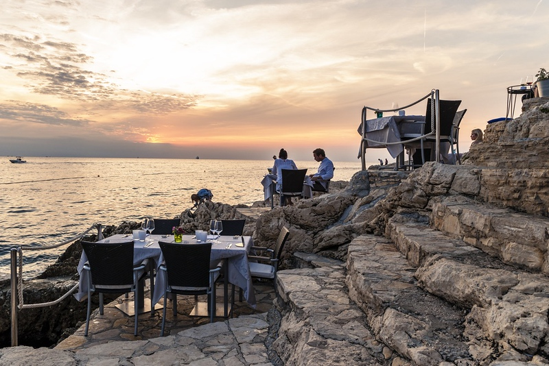 sunset at Mediterraneo Bar in Rovinj, Croatia