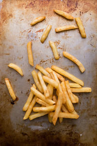 fries on steel plate
