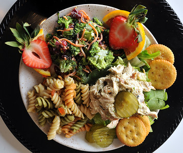 This is boroccali salad, chicken salad and pasta salad combination available at the Cosmopolitan Cafe on Old Canton Road  in Jackson.