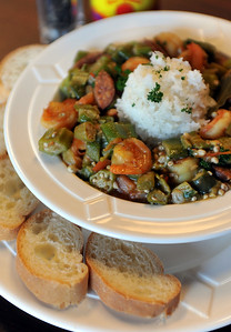One of their specialties at Kent's Cajun Kitchen on Colony Crossing, suite 640, in Madison, is this cajun okra stew.