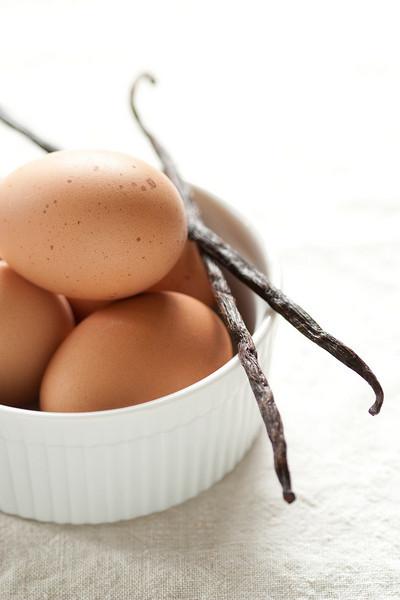 Eggs and vanilla beans.
