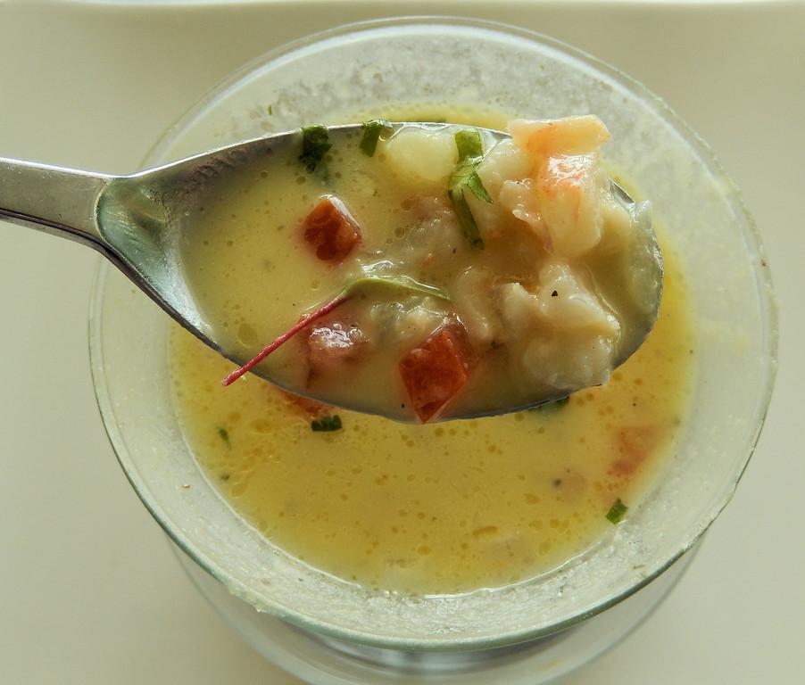 Pineapple Gazpacho with Shrimp Ceviche