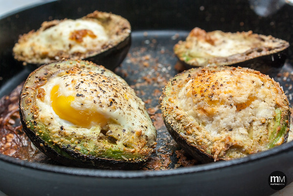 These look much better than they actually tasted; sadly, the avocados get kind of weird when baked.