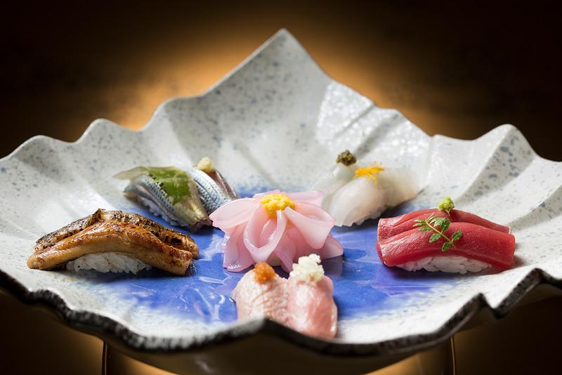 Sush dish at Yamazato restaurant in Hotel Okura, Macau.
