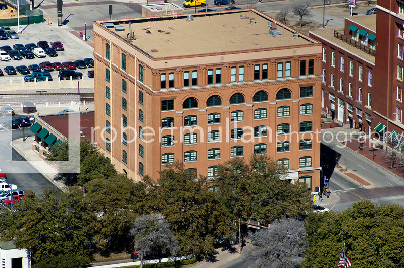 Aerial view of the former Texas School Book Depository Building in Dealey Plaza, Dallas, Texas