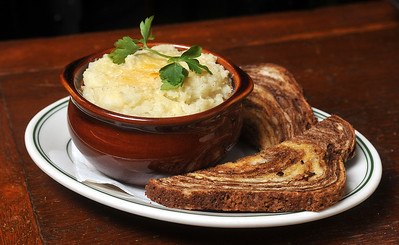 Oen of  Fenian's Pub on High Street in Jackson's traditional dishes is this Shepherd's Pie with Marbled Ruben bread.
