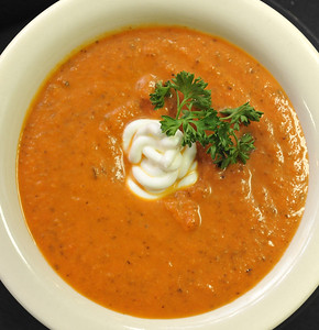 Tomato basil soup is one of the favorites at Market Bites cafe inside Interiors Market on Duling Ave. in Jackson.
