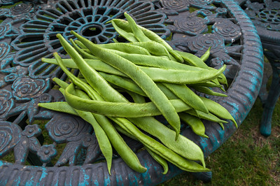 Runner beans on table