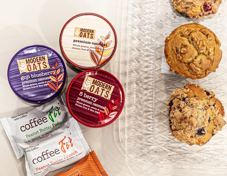 Modern Oats cups, to go Coffee Fit Bars and scones