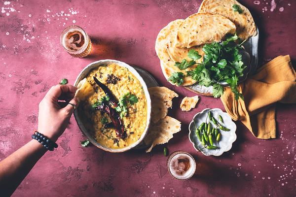Tadka Dhal et Roti Canai