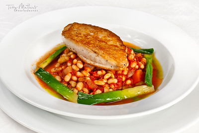 Chef's Presentation dish - Chicken breast; haricot bean and chorizo cassoulet with baby leeks.